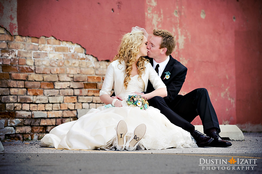 LDS bride with groom, real LDS wedding