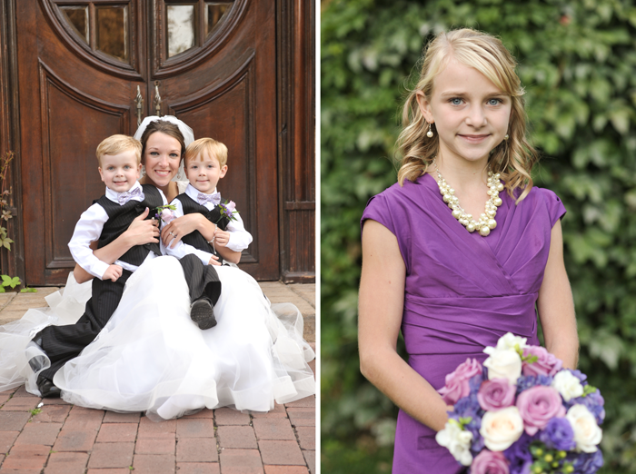 LDS bride with young wedding attendants