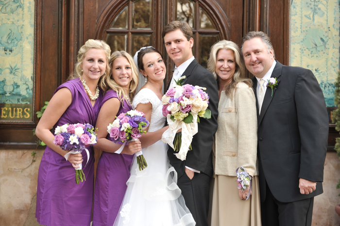 real LDS wedding family portrait just outside the LDS Salt Lake City Temple