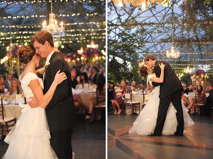 LDS wedding reception, an LDS bride and groom dance their first dance