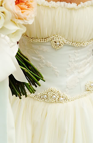 wedding gown pearls