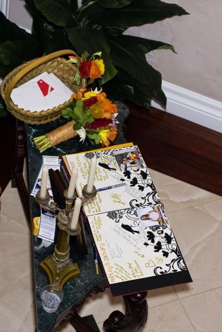 A wedding guest book