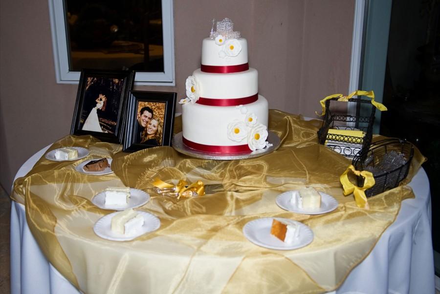 a wedding cake beautifully displayed