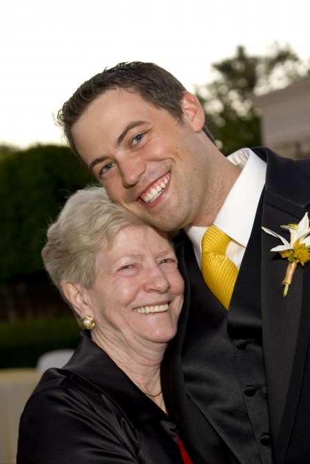 An LDS groom with his grandmother