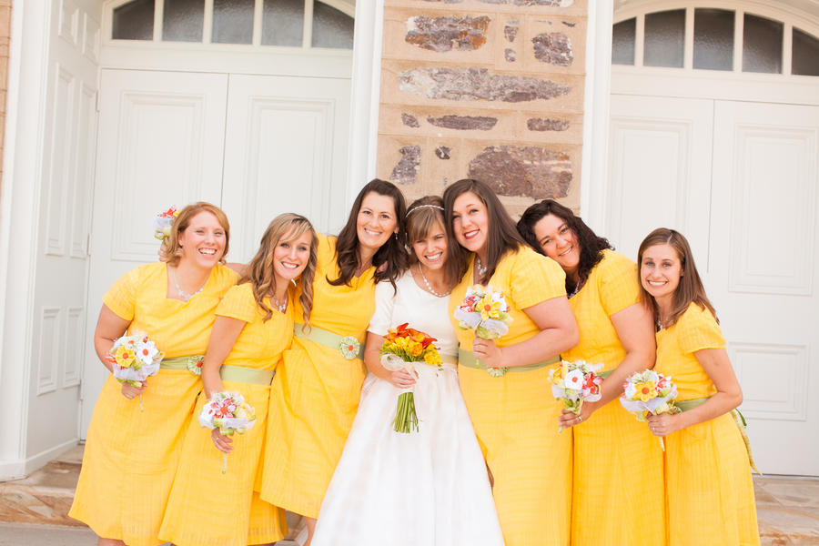 LDS bride and her bridesmaids