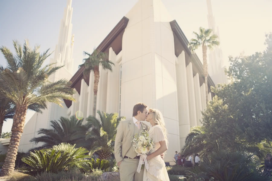 LDS bride and groom in front of the LDS Temple
