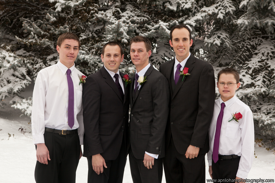 groomsmen and an LDS groom