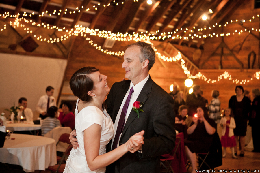 An LDS bride dances with her father