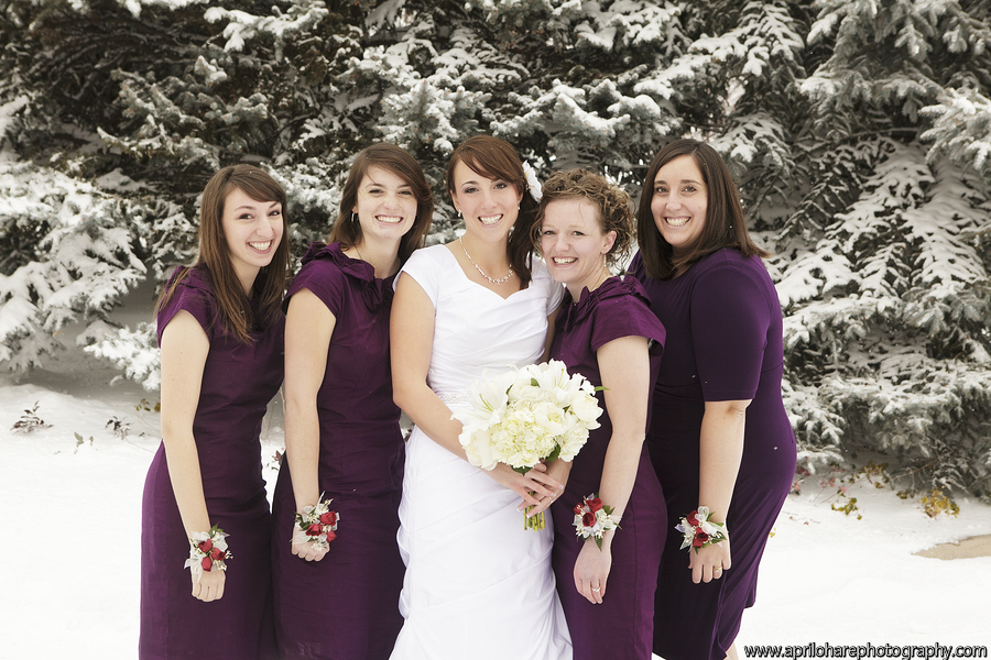bridesmaids and an LDS bride