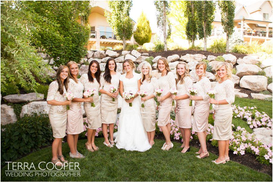 bridesmaids and an LDS bride