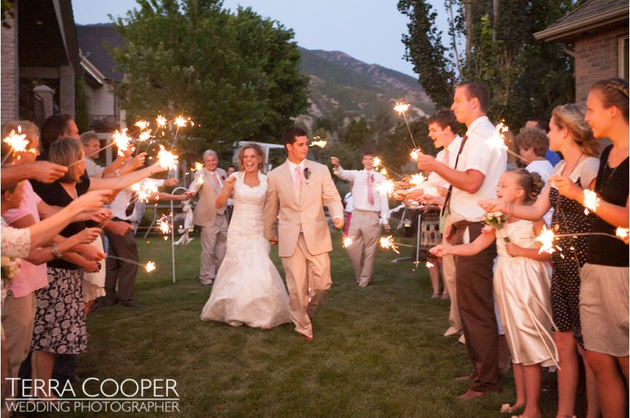 sparklers at an LDS wedding reception