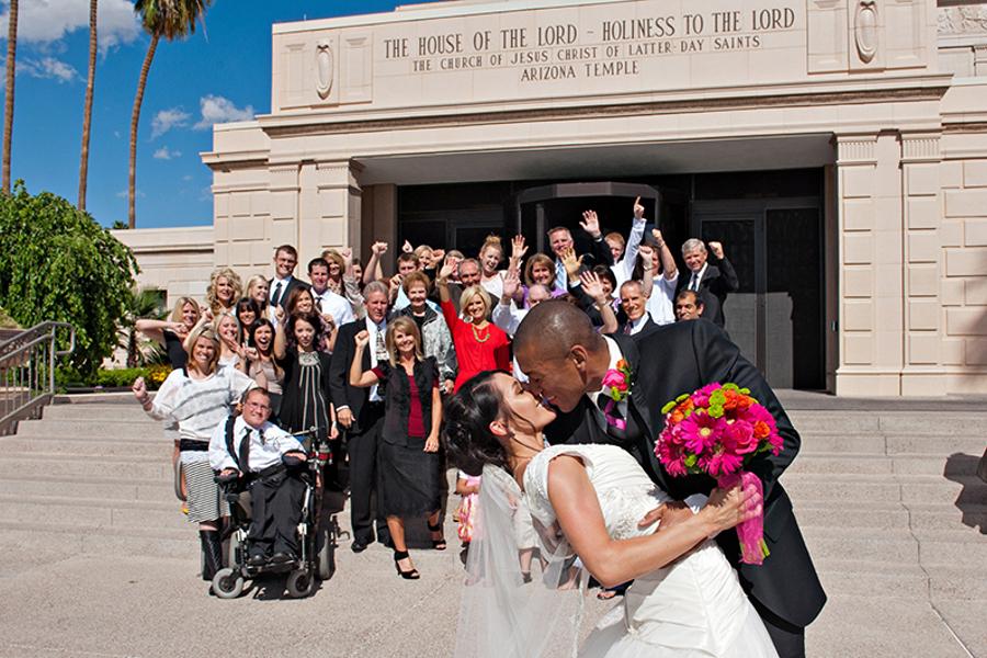 LDS Bride and Groom at Mesa, Arizona Temple, WeddingLDS.com