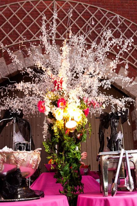 LDS Reception Buffet Table Flower Arrangement, WeddingLDS.com