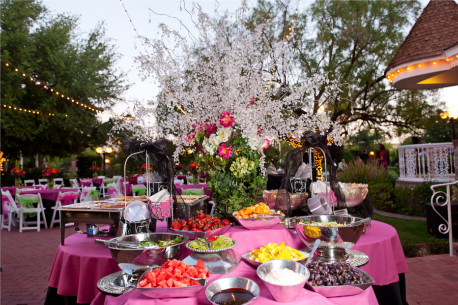 LDS Reception Buffet Table, Pink and Black, WeddingLDS.com