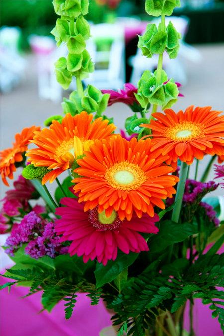 LDS Reception Centerpiece Flower Arrangement of Pink, Orange and Green, WeddingLDS.com