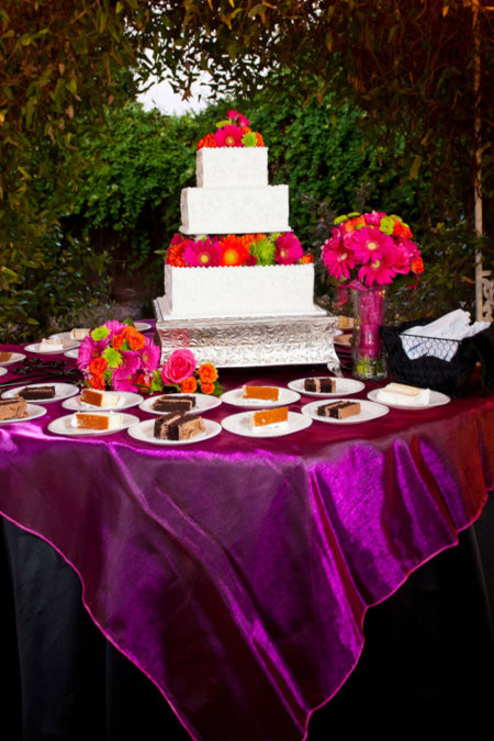 LDS Reception Cake Table, Pink, Orange, Green and Black, WeddingLDS.com