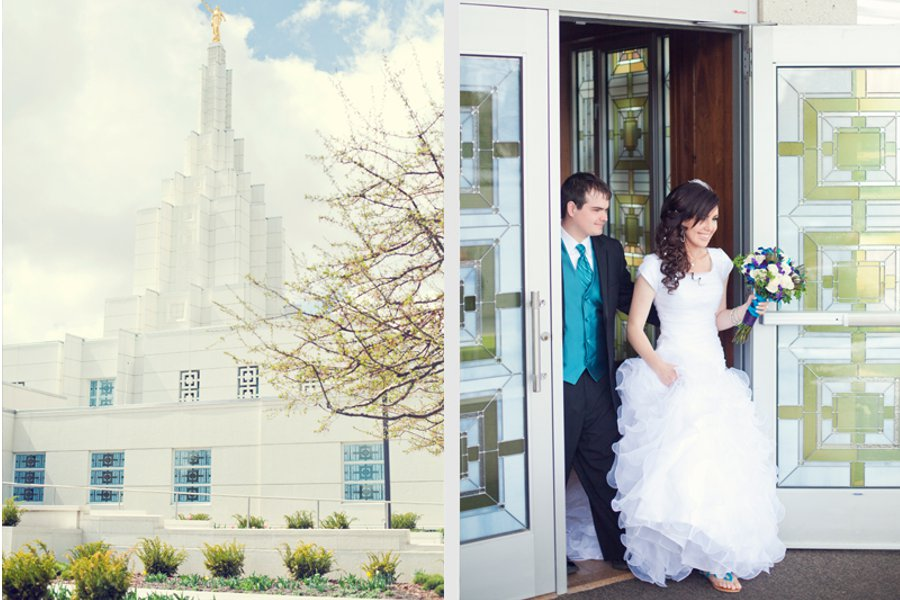 An LDS bride and groom exit the LDS Temple, WeddingLDS.com