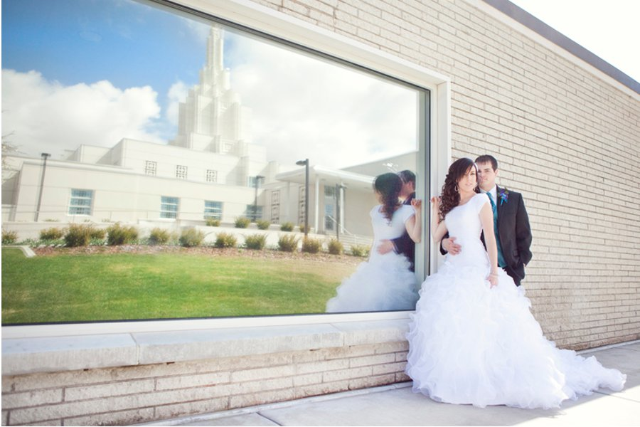 LDS bride and groom, married for all time, WeddingLDS.com