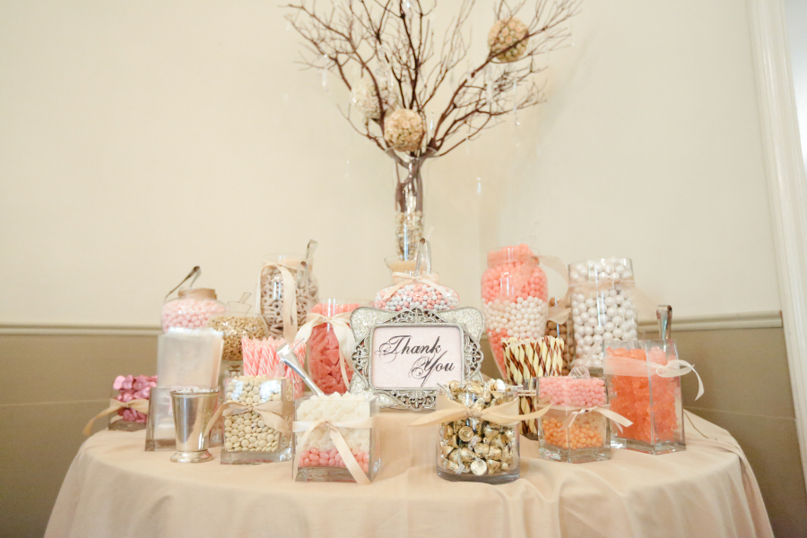 Purple and white wedding candy buffet ideas table