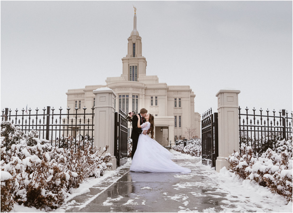 LDS bride and grrom in front of an LDS temple